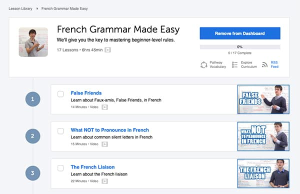 interface of frenchpod101's grammar course
